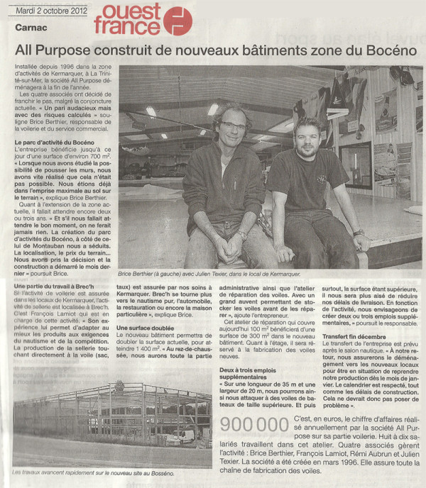 Ouest France All Purpose 2 octobre 2012 ©Ouest France du 2 octobre 2012